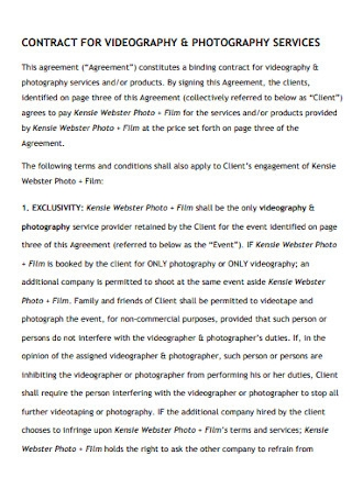 Contract for Vidiography and Photography Template