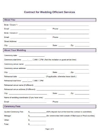 Contract for Wedding Officiant Services
