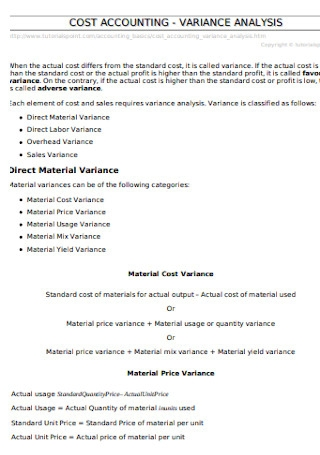 Cost Accounting Variance Analysis
