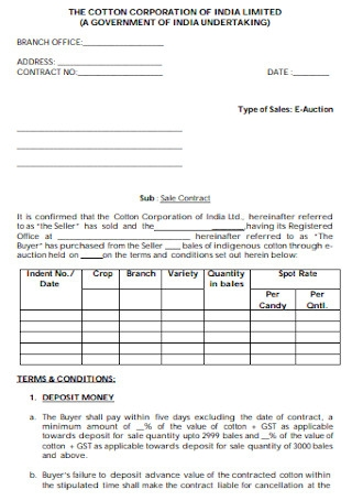 Cotton Sales Contract Template