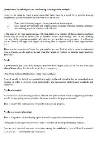 Course Training Needs Analysis