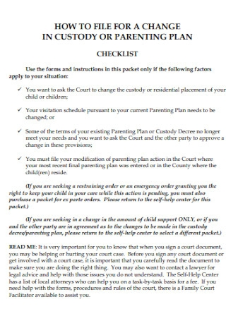 Custody and Parenting Plan Template