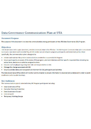 Data Governance Communication Plan