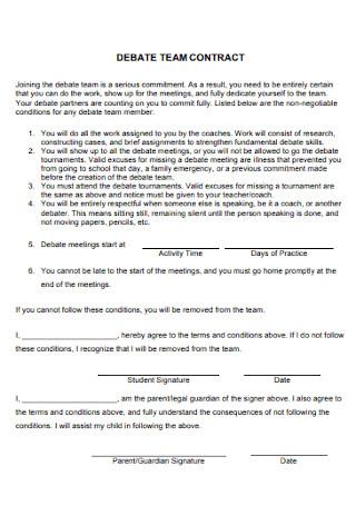 Debate Team Contract Template