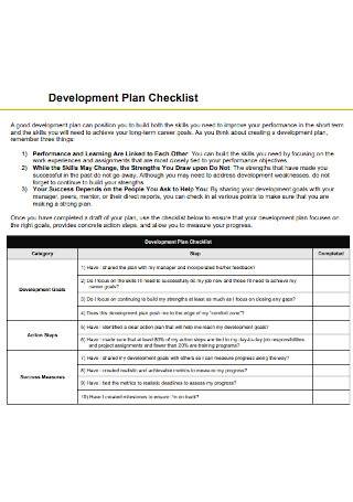Development Plan Checklist
