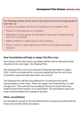 Development Plan Scheme Template