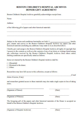 Donor Gift Agreement