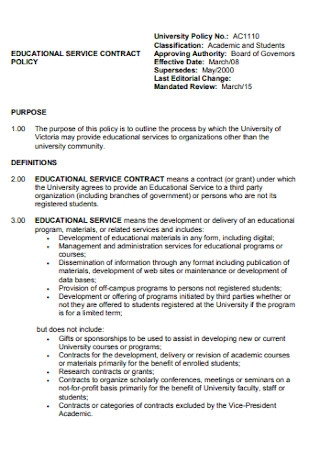 Educational Service Contract
