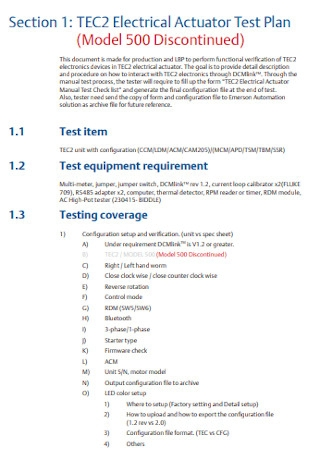 Electrical Actuator Test Plan