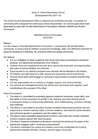 Elementary School Development Plan