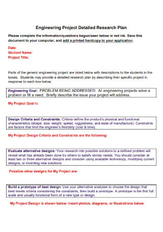 Engineering Project Detailed Research Plan