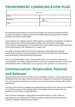 Environment Communication Plan