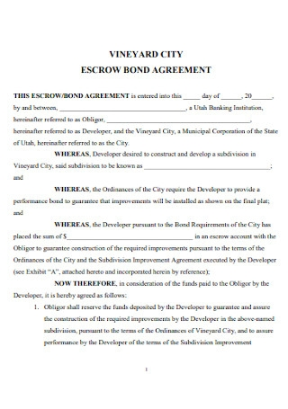 Escrow Bond Agreement Template