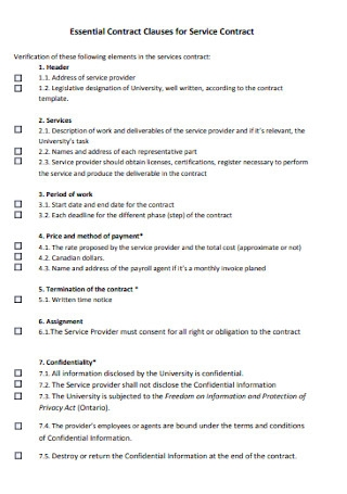Essential Contract Clauses for Service Contract