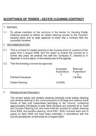 Estate Cleaning Contract