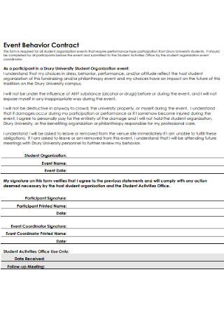 Event Behavior Contract