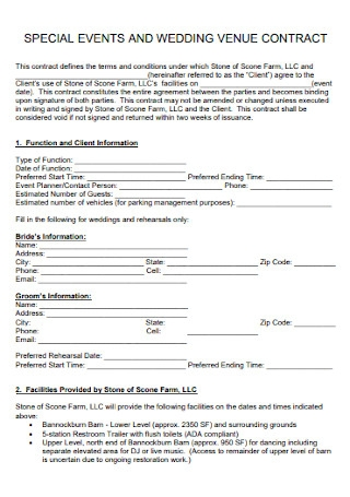 Event Wedding Contract