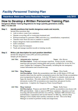 Facility Personnel Training Plan