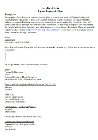 Faculty Research Plan Template