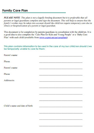 Family Care Plan Template