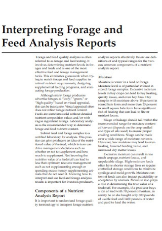 Feed Analysis Reports