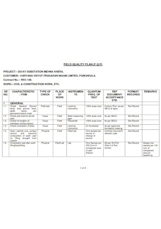 Field Quality plan Template