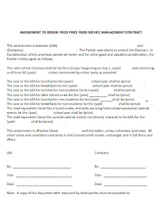 Food Service Management Contract