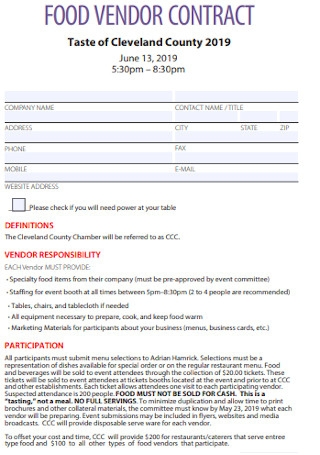 Food Vendor Contract Template