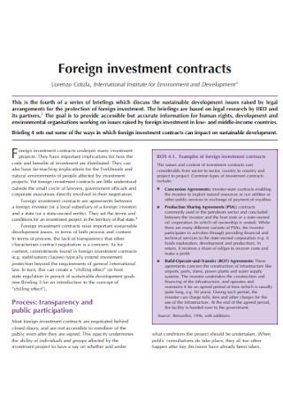 Foreign Investment Contracts