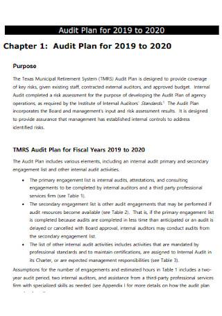 Formal Audit Plan Template