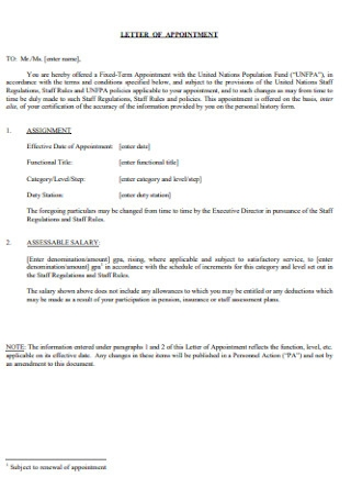 Formal Doctor Appointment Letter