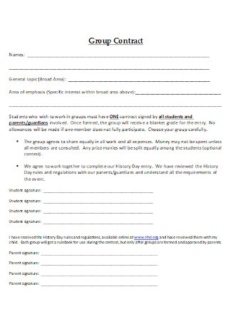Formal Group Contract Template