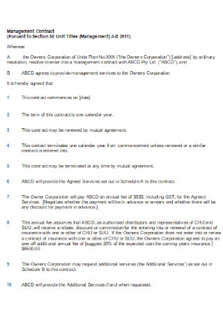 Formal Managemet Contract