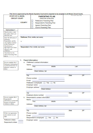 Formal Parenting Plan Template