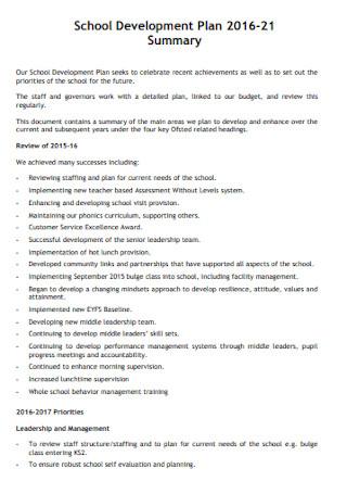 Formal School Development Plan Template