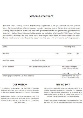 Formal Wedding Contract Template