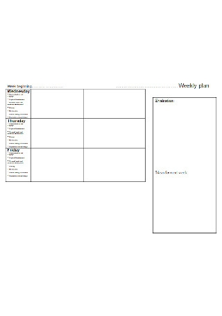 Formal Weekly Plan Template