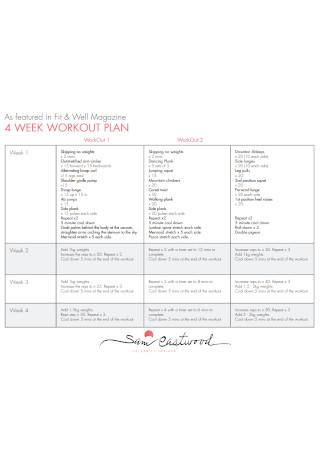 Four Week Workout Plan