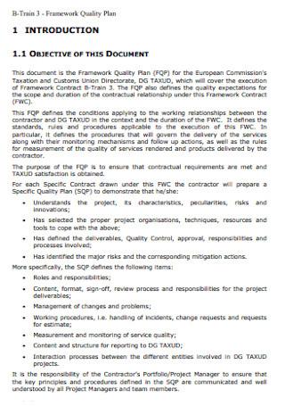 Framework Quality Plan