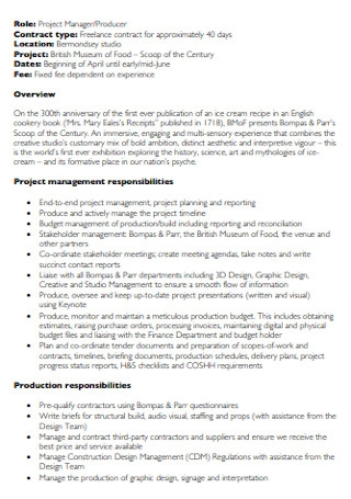 Freelance Project Manager Contract