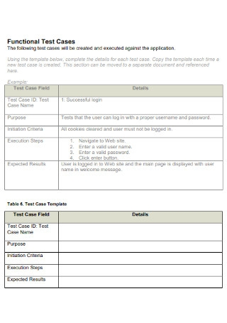 Functional Test Plan Template