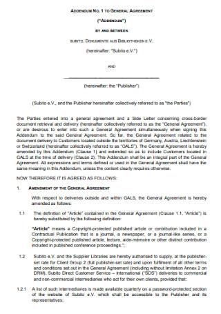 General Addendum to Agreement