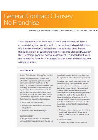 General Franchise Contract Template