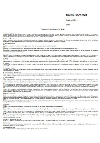General Sales Contract Template