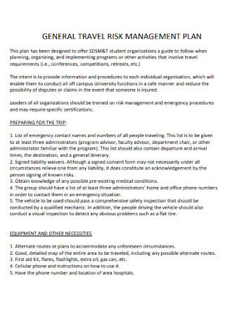 General Travel Risk Management Plan
