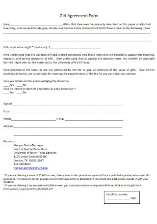 Gift Agreement Form Template