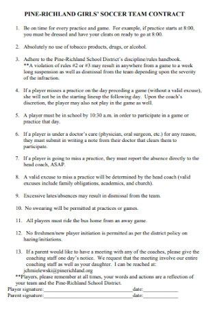 Girls Soccer Team Contract