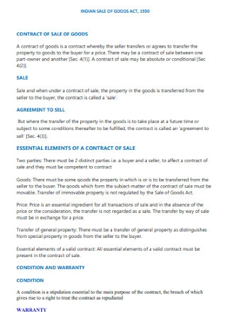 Goods Sale Contract Template