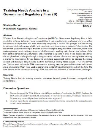 Government Training Needs Analysis