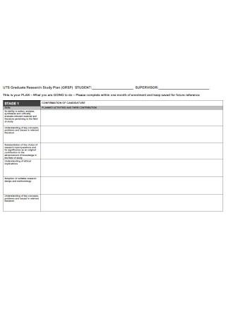 Graduate Research Study Plan